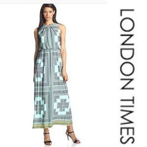 Printed Blouson-Maxi Dress